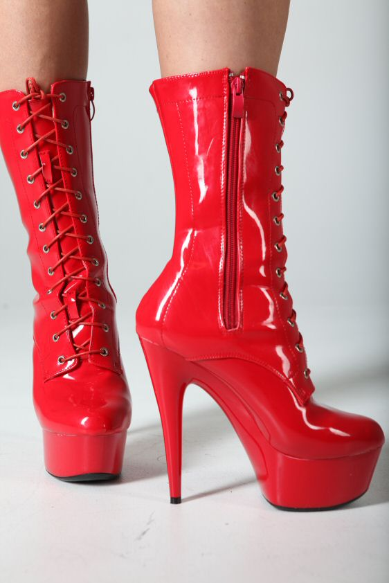plateau lack high heels boots stiefeletten rot ebay. Black Bedroom Furniture Sets. Home Design Ideas